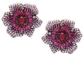 Effy 14K Rose Gold, Ruby, Pink Sapphire & Diamond Flower Stud Earrings