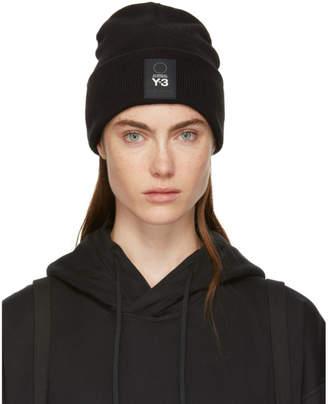 Y-3 Y 3 Black Wool Logo Beanie