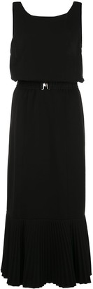 Derek Lam Sleeveless Crepe Jersey Fitted Dress with Pleated Hem