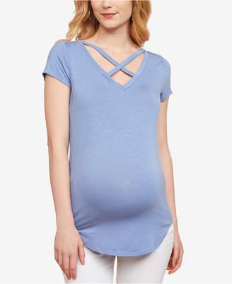 Jessica Simpson Maternity Cross-Front V-Neck T-Shirt