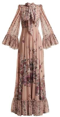 Luisa Beccaria Pussy Bow Floral Print Georgette Gown - Womens - Pink Print