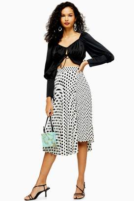 467175fb638b Topshop Womens Monochrome Spot Pleat Midi Skirt - Monochrome