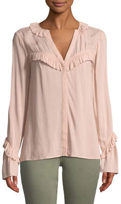 Paige Montel V-Neck Ruffled Blouse