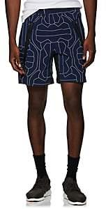 BLACKBARRETT Men's Abstract-Net-Pattern Tech-Taffeta Drawstring Shorts - Navy
