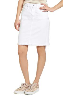 Jen7 Frayed Hem Denim Pencil Skirt