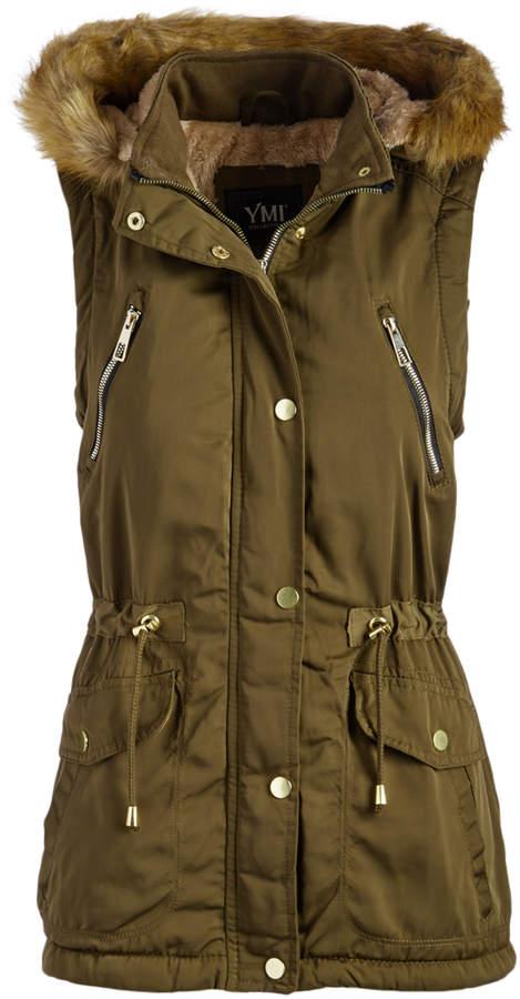 Olive Sherpa-Lined Faux Fur Hooded Vest - Women