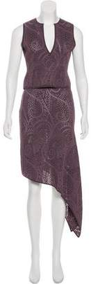 Herve Leger Perforated Patterned Skirt Set