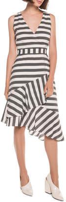Monochrome Stripe Frill Hem Dress