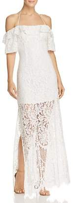 WAYF Tasha Cold-Shoulder Lace Gown