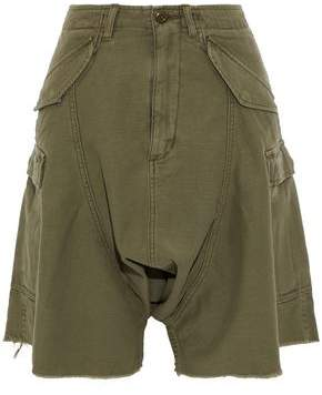 R 13 Frayed Cotton-Twill Shorts