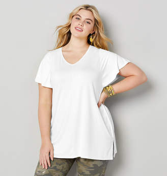 Avenue Plus Size Solid Short Sleeve V-Neck Tee With Smocked Shoulders