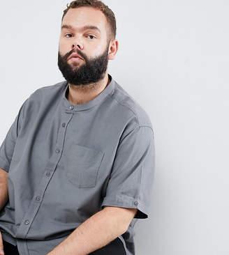 Jacamo Plus Short sleeve grandad shirt in gray