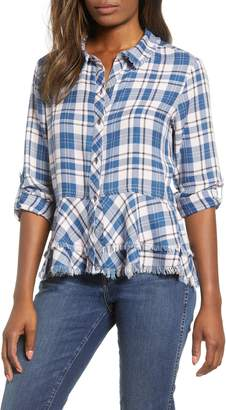 BILLY T Lace Back Plaid Shirt