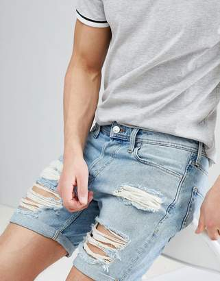 Jack and Jones Denim Shorts With Heavy Distressing