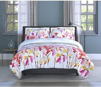 Inspired Surroundings Lovely Flowers Floral Microfiber 3 Piece Full Comforter Set, Comforter 80x88, Sham 20x26 (2), Polyester