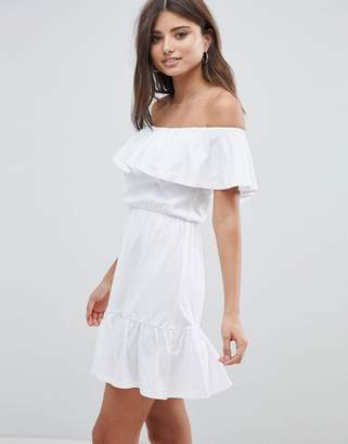 Asos Design Off Shoulder Sundress With Tiered Skirt