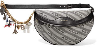 Balenciaga Embellished Leather And Canvas Shoulder Bag - Gray