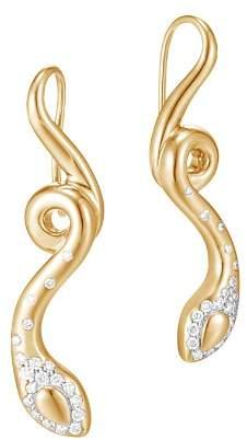 John Hardy 18K Yellow Gold Legends Cobra Diamond Pavé French Wire Earrings - 100% Exclusive