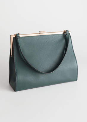 And other stories Grainy Leather Frame Handbag
