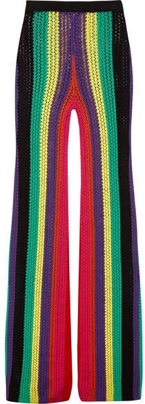BalmainBalmain - Striped Crochet-knit Flared Pants - Yellow