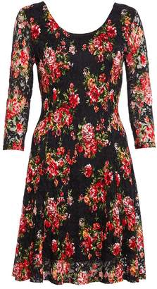 Quiz Black and Red Lace Floral Print Dress