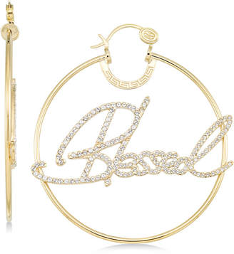 """Simone I. Smith Crystal """"Blessed"""" Hoop Earrings in 14k Gold over Sterling Silver"""