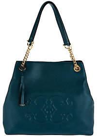"C. WonderC. Wonder Pebble Leather Large Satchel Handbag with ""C"" Detail"