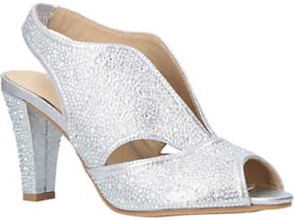 Arabella Carvela Comfort Embellished Cone Heel Open Toe Court Shoes, Silver