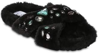 Colors of California Embellished Faux Fur Slide Sandals