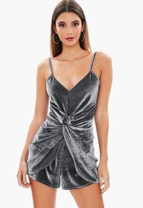 Missguided Grey Velvet Twist Front Playsuit, Grey