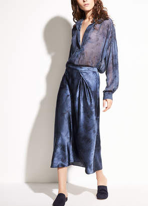 Vince Watercolor Marble Shirred Blouse