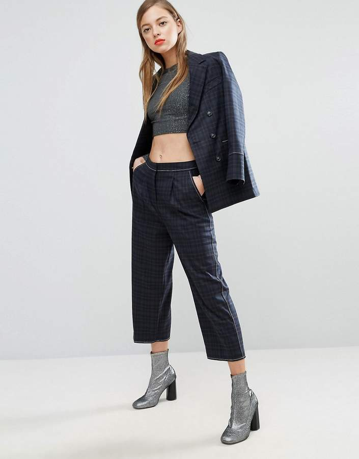AsosASOS Mansy Wide Leg Pants with Contrast Stitch