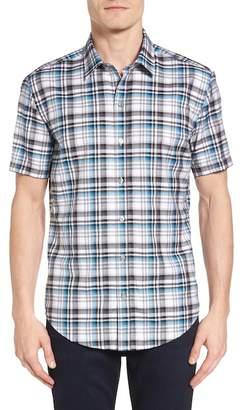 BOSS Ronn Trim Fit Check Short Sleeve Sport Shirt