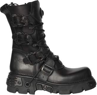 New Rock Unisex Metallic Reactor Punk Goth Biker Unisex Boots with Lace ups and Side Zip