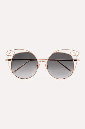 Linda Farrow Round-frame Rose Gold-tone Sunglasses - Metallic