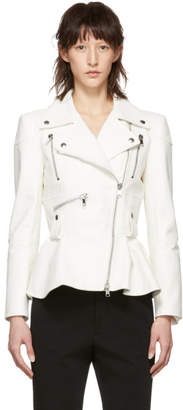 Alexander McQueen White Leather Peplum Jacket