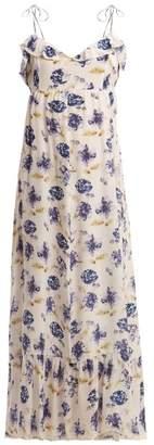 Athena Procopiou - Floral Print Ruffle Trimmed Silk Maxi Dress - Womens - Blue Multi