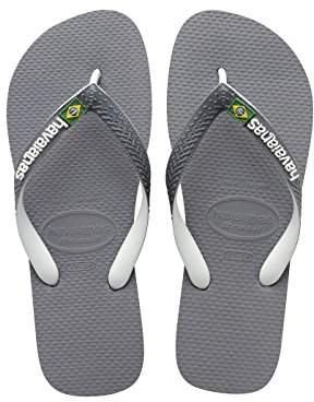 Havaianas Unisex Adults' Brasil Mix Flip Flop, Steel Grey/White, (45/46 Brazilian) (47/48 EU)
