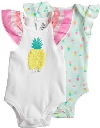 Baby Starters Baby Girl 2-pk. Pineapple Graphic & Print Bodysuits