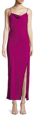 Theory Draped Back Silk Midi Dress