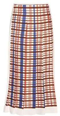 Victoria Beckham Printed pleated midi skirt