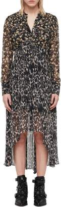 AllSaints Liza Asa Dual Print High/Low Dress