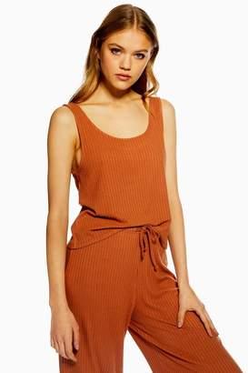 Topshop Rust Brushed Ribbed Pyjama Camisole Top