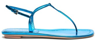 Prada Metallic Leather Sandals - Womens - Blue