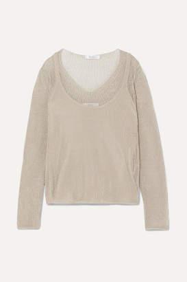 Max Mara Layered Cotton-blend Lurex Sweater - Beige