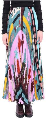 Valentino Multicolor Pleated Silk Shirt