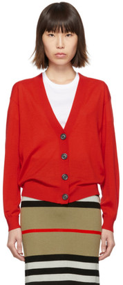 Burberry Red Vintage Check Elbow Patch Dornoch Cardigan