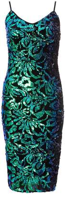 Quiz TOWIE Black and Green Sequin Midi Dress