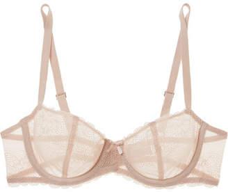 Chantelle - Le Marais Stretch-lace And Point D'esprit Underwired Balconette Bra - Blush