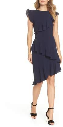 Maggy London Catalina Asymmetrical Ruffle Crepe Dress